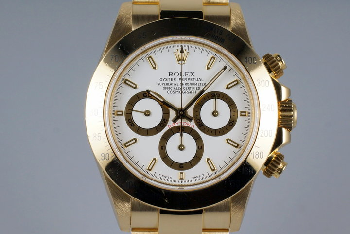 1995 Rolex YG Zenith Daytona 16528 White Dial photo