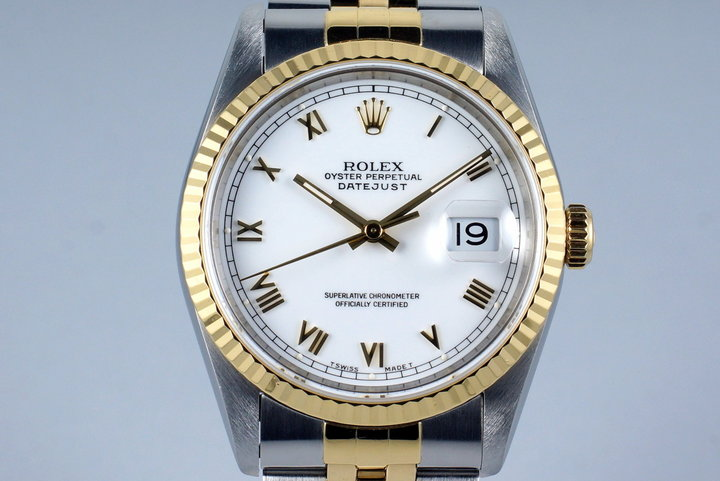 1994 Rolex Two Tone DateJust 16233 White Roman Numeral Dial with Box and Papers photo