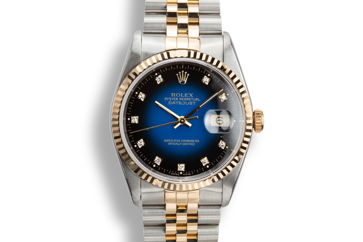 1992 Rolex Two-Tone DateJust 16233G with Blue Vignette Diamond Dial photo, #0