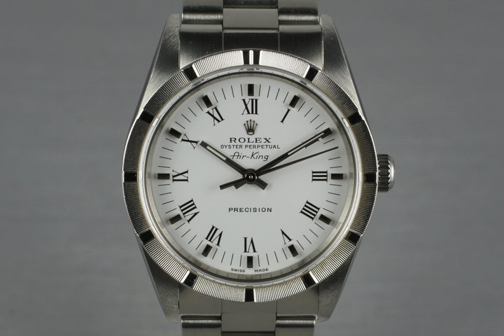2002 Rolex Air King 14010M with White Roman Dial photo