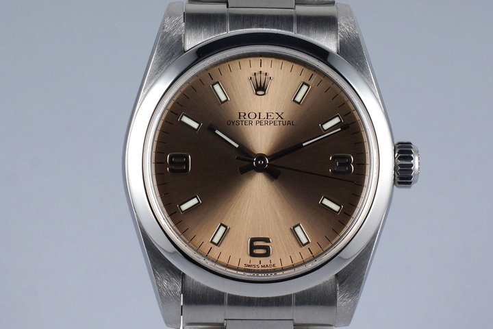 2002 Rolex MidSize Oyster Perpetual 77080 Salmon Dial photo