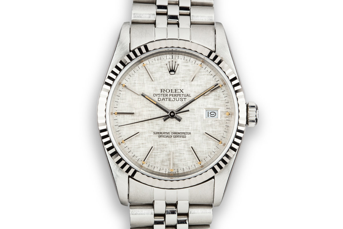1988 Rolex DateJust 16234 Silver Linen Dial photo, #0
