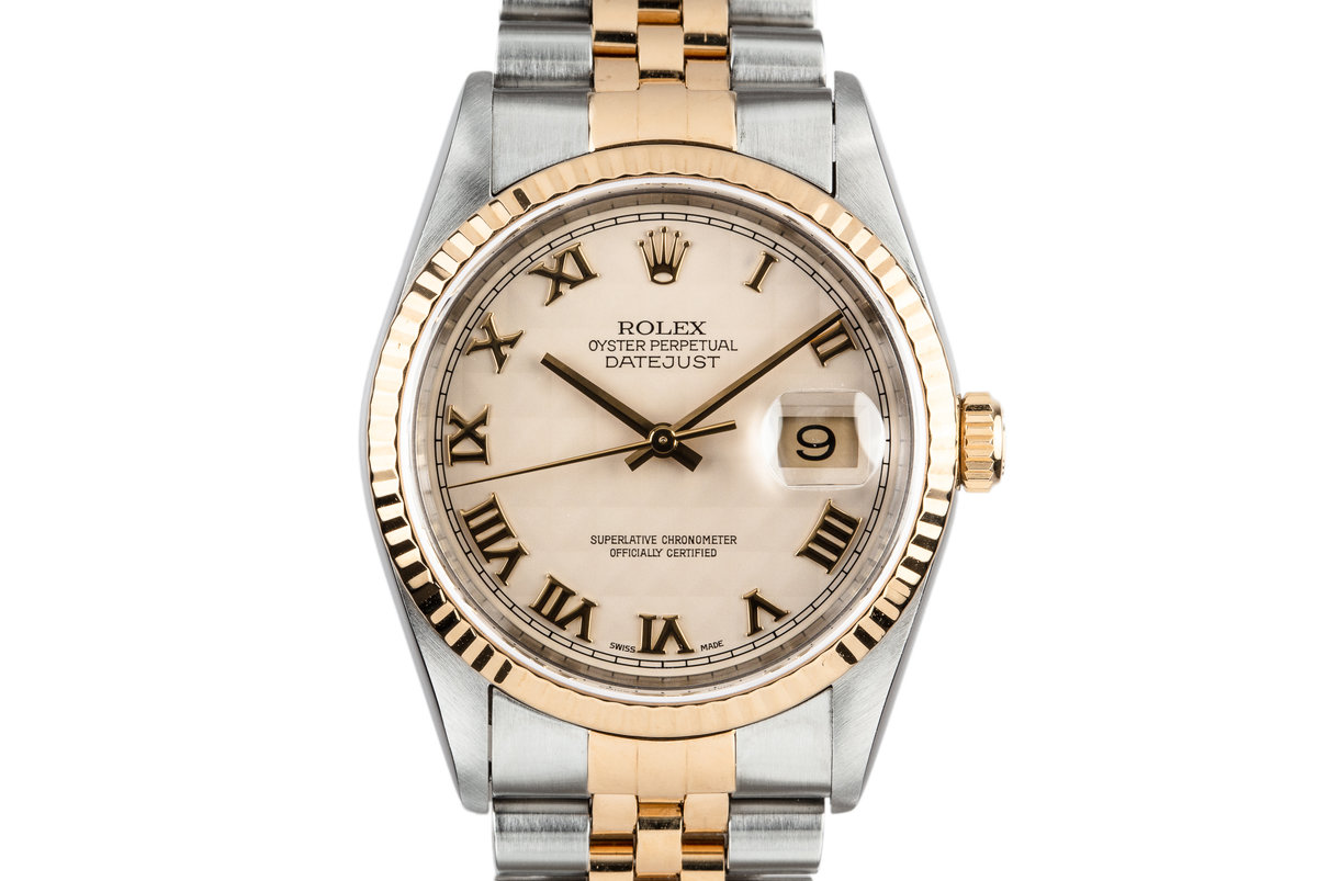 1995 Rolex Two Tone DateJust 16233 No Lume Pyramid Numeral Dial with Box and Papers photo, #0