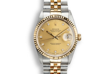 1995 Rolex Two-Tone DateJust 16233G Champagne Diamond Dial with Box and Papers photo