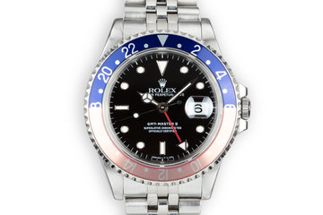 "1989 Rolex GMT-Master II 16710 with ""Pepsi"" and extra ""Coke"" insert With Box and Papers photo"