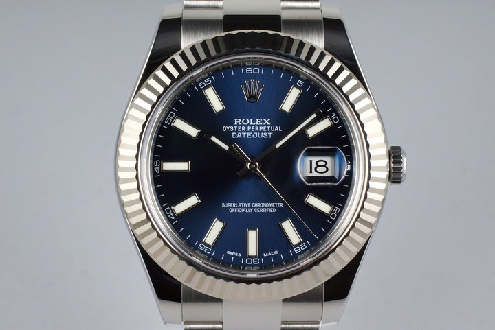 2014 Rolex Datejust II 116334 Blue Dial with Box and Papers photo