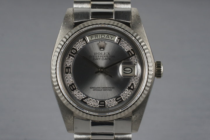 1983 Rolex WG Day-Date 18039 with Rare Factory Arabic Diamond Dial photo