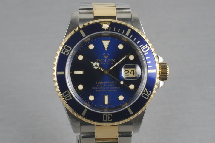 Rolex Submariner 18K/SS Blue Dial  16613 with Box and Papers photo