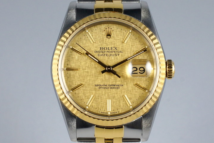 1989 Rolex Two Tone DateJust 16233 Champagne Linen Dial photo