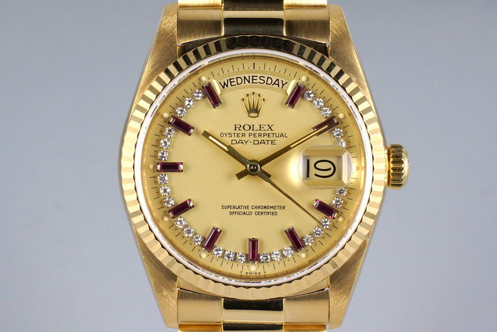 1986 Rolex YG Day Date 18038 Factory Diamond and Ruby String Dial photo
