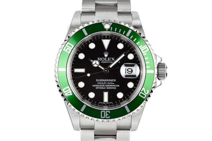 Mint 2007 Rolex Green Anniversary Submariner 16610LV with Box and Papers photo