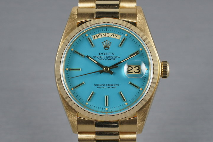 1979 Rolex 18K Day-Date 18038 with Baby Blue Stella Dial photo