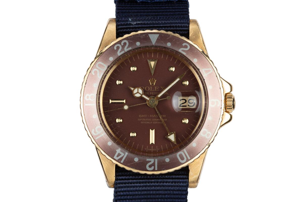 1970 Rolex 18K YG GMT-Master 1675 Brown Nipple Dial photo, #0