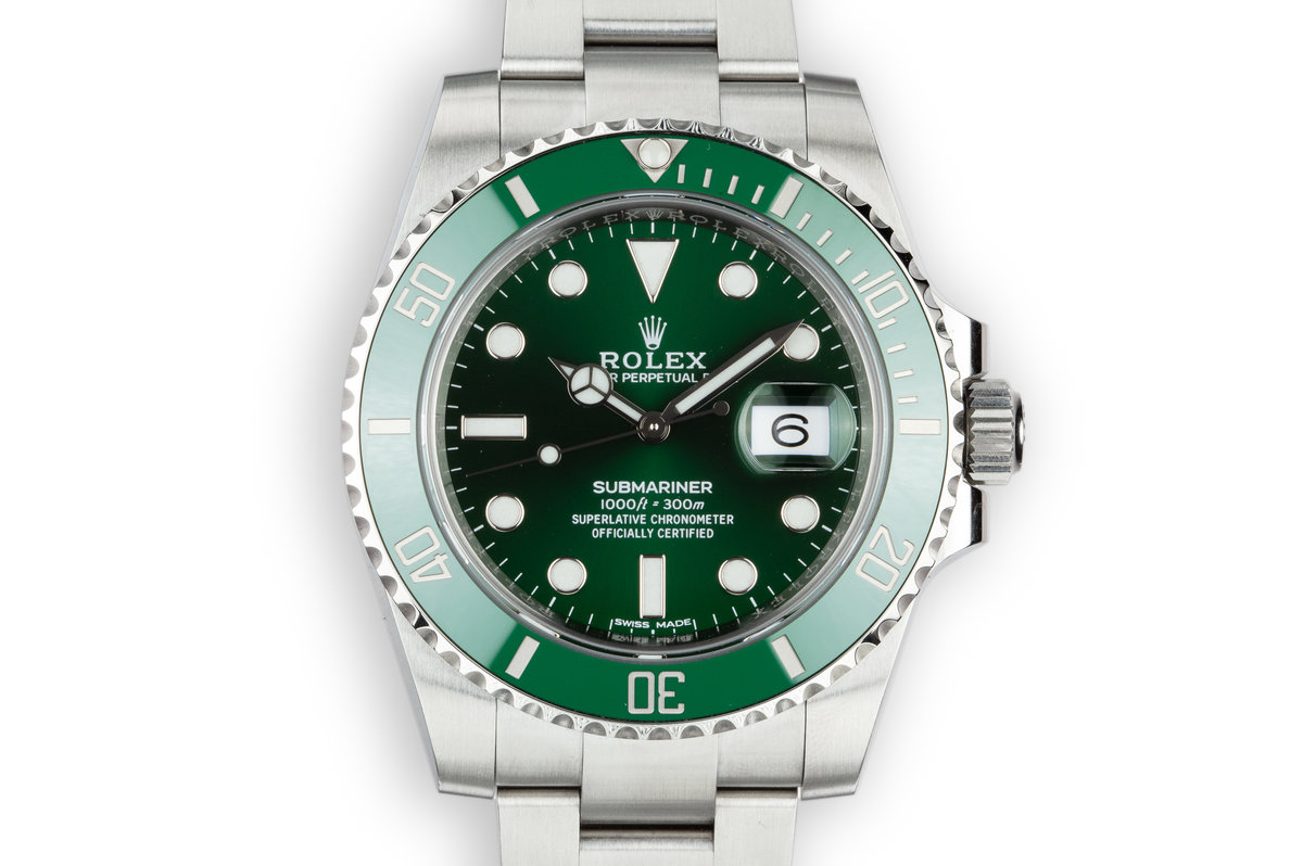 "2018 Rolex Green Submariner ""Hulk"" 116610LV with Box and Papers photo, #0"