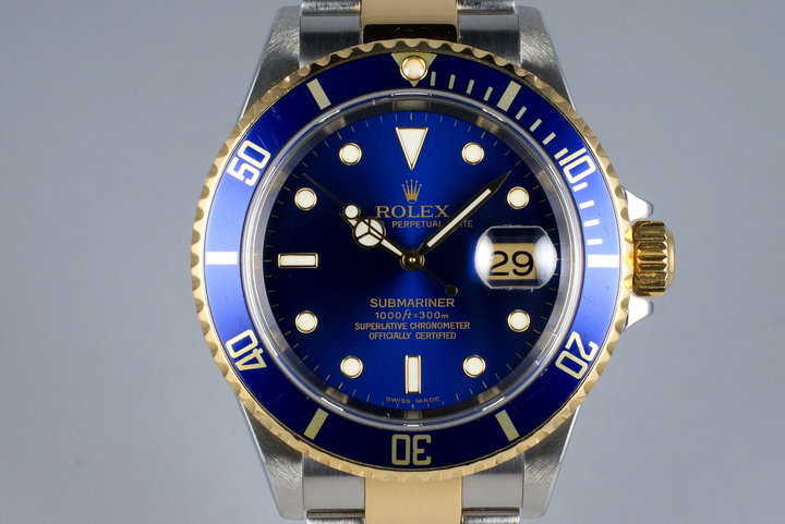 2004 Rolex Two Tone Blue Submariner 16613 with Box and Papers photo