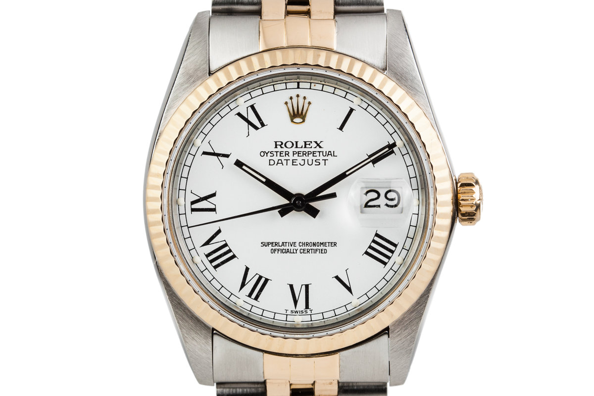 1983 Rolex Two Tone Datejust 16013 with White Painted Roman Numerals photo, #0