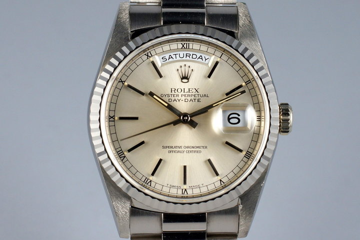 1995 Rolex WG Day-Date 18239 Silver Dial photo