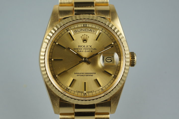 1989 Rolex YG Day-Date 18238 with Box and Papers photo