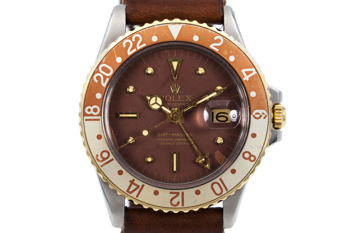 1970 Rolex Two Tone GMT 1675 with Root Beer Nipple Dial photo
