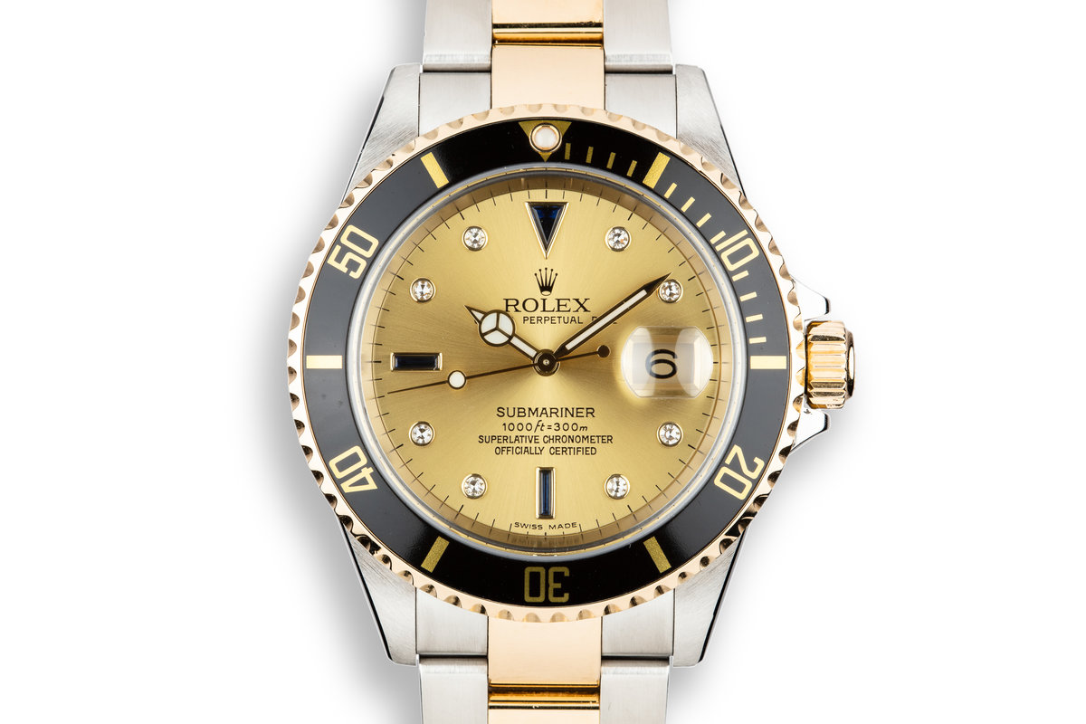 2005 Rolex Two-Tone Submariner 16613 Champagne Serti Dial with Box and Papers photo, #0