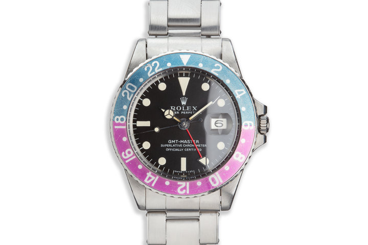 1968 Royal Canadian Air Force Vintage Rolex GMT-Master 1675 Fuchsia Bezel, Box, Double Punched Papers and Booklets photo