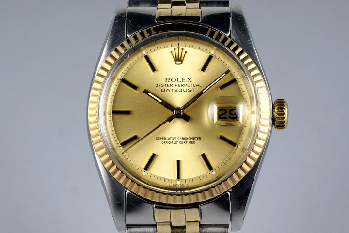 1978 Rolex Two Tone DateJust 1601 Champagne Dial with Box and Papers photo