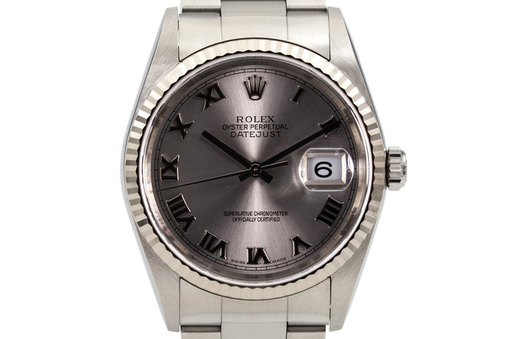2004 Rolex DateJust 16234 Silver Roman Dial with Box and Papers photo