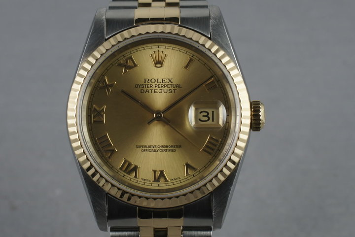 1997 Rolex 18K/Steel Datejust  16233 Champagne Roman Dial photo