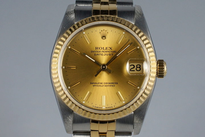 1991 Rolex MidSize Two Tone DateJust 68273 with Box and Papers photo