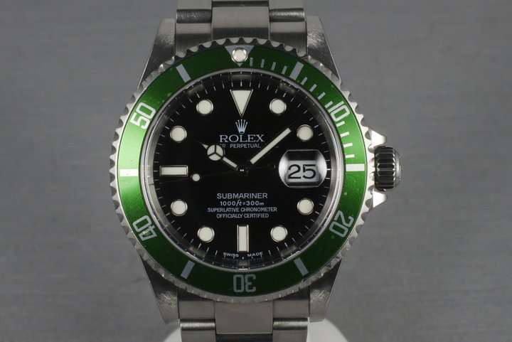 Rolex Green Submariner 16610 LV Mark 1 Dial and Flat 4 Bezel photo