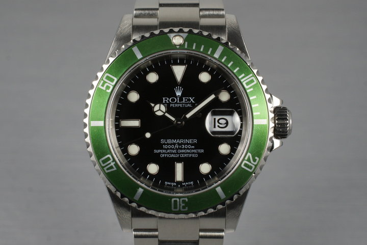 2005 Rolex Green Submariner 16610V with Box and Papers photo