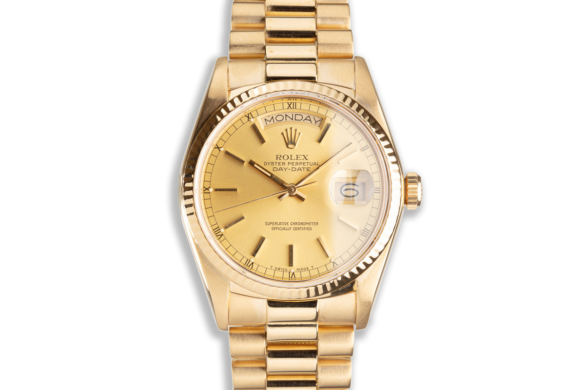 1984 Rolex 18K YG Day-Date 18038 Gold Stick Dial with Box & Service Papers photo, #0