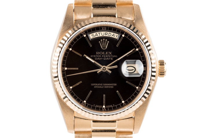 1979 Rolex 18K Day-Date 18038 with Black Dial photo