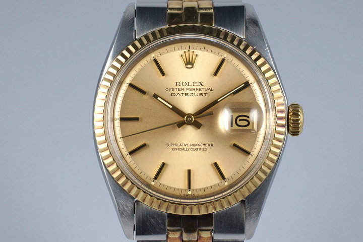 1972 Rolex Two Tone Datejust 1601 Champagne Dial with RSC Papers photo