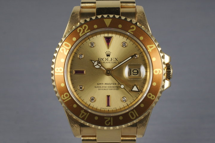1991 Rolex YG GMT II 16718 with Champagne Serti Dial photo