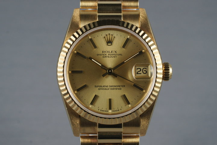 1986 Rolex 18K MidSize Datejust 68278 photo