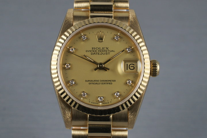 1985 Rolex 18K MidSize Datejust 68278 with Factory Diamond Dial photo