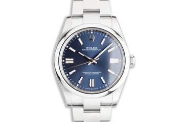 2021 41mm Rolex Oyster Perpetual 124300 Metallic Blue Dial Box & Card photo