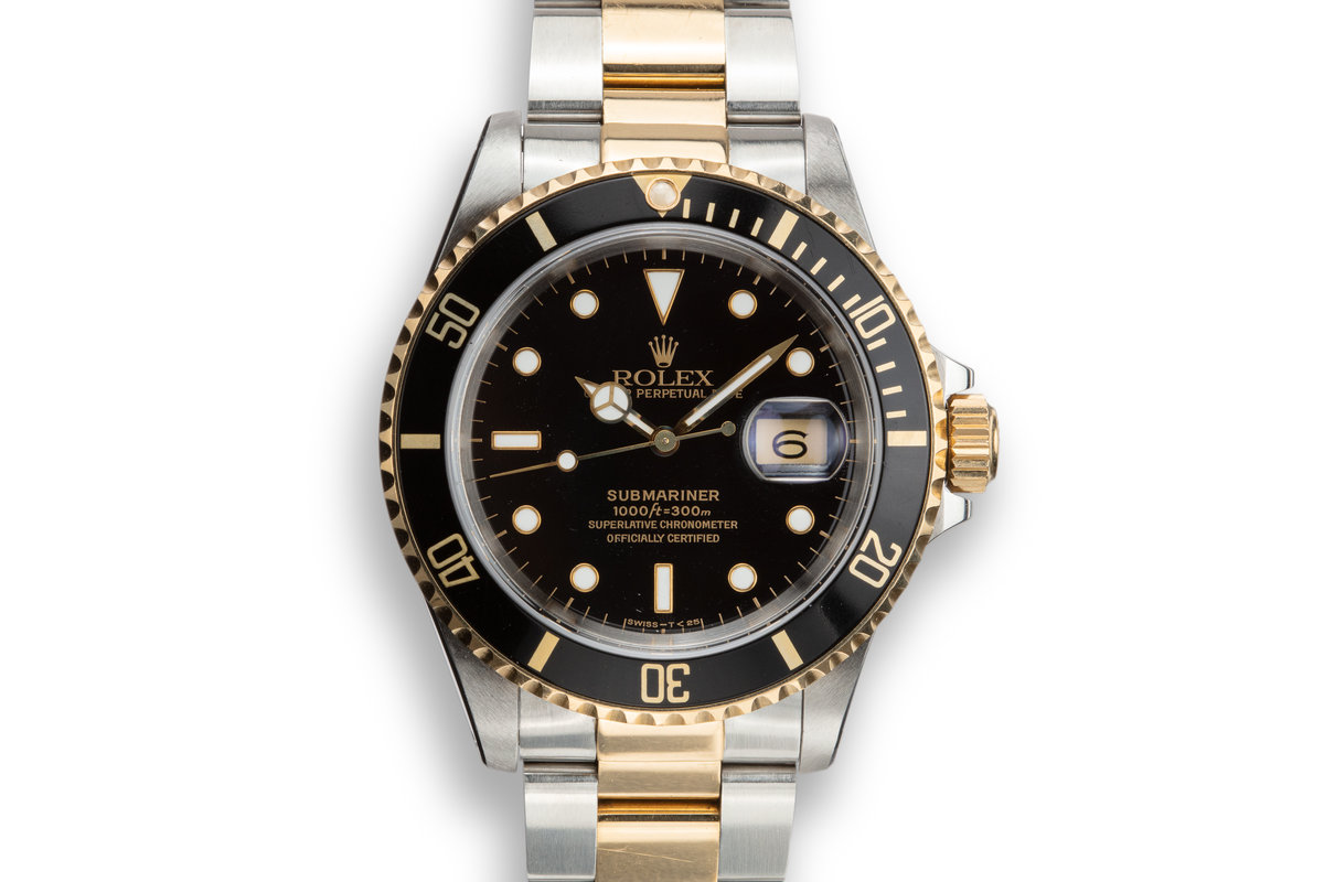 1991 Rolex Two-Tone Submariner 16613 Black Dial with Box, Papers, and Service Papers photo, #0
