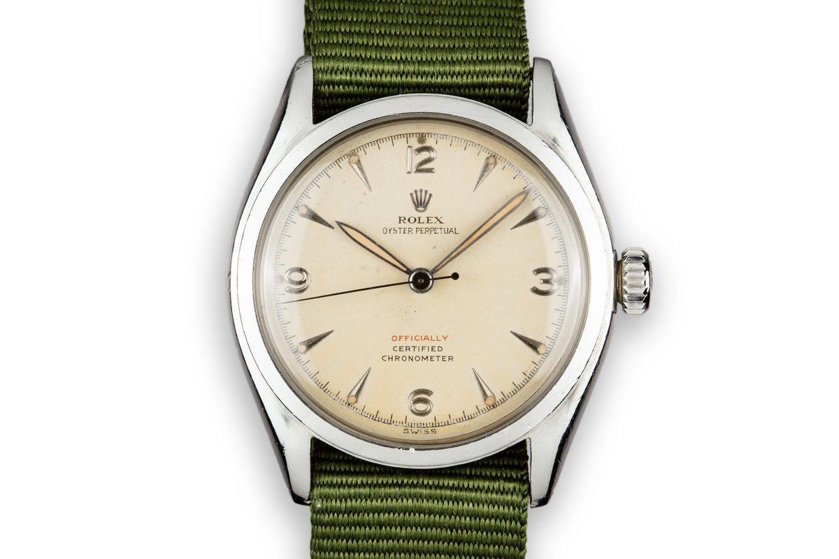 """1952 Rolex Oyster Perpetual 6084 Cream Dial with Red """"Officially"""" photo, #0"""