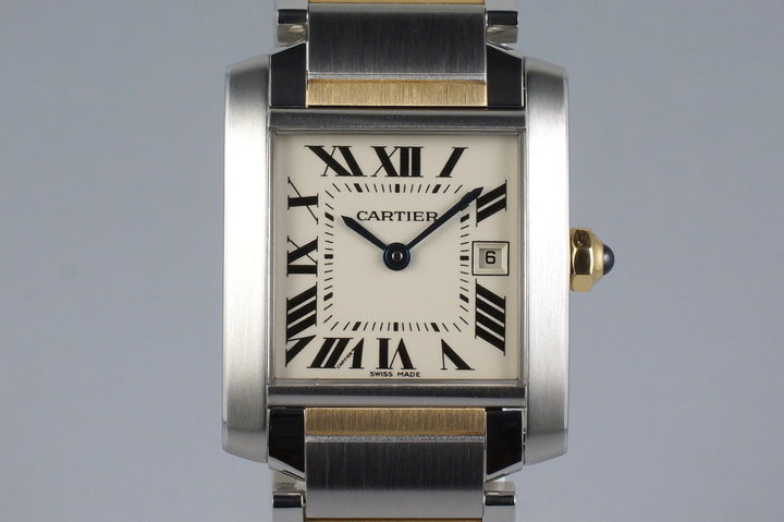 2009 Cartier Two Tone Quartz Tank Francaise 2465 with Box and Papers photo