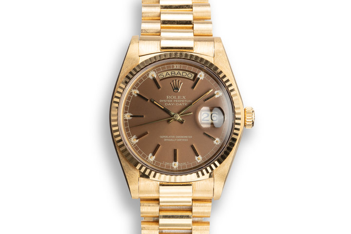 1979 Rolex Day-Date 18038 Brown Dial with Service Papers photo