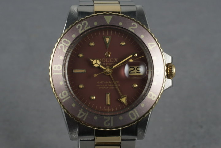 1972 Rolex GMT 14K/SS 1675  with Root Beer Dial and Purple Bezel photo