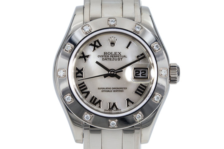 2001 Rolex Ladies WG Pearlmaster Datejust 80319 Mother of Pearl Dial and 12 Diamond Bezel photo