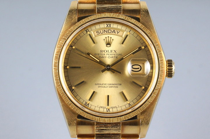 1979 Rolex YG Bark Day Date 18078 Champagne Dial with Box and Papers photo