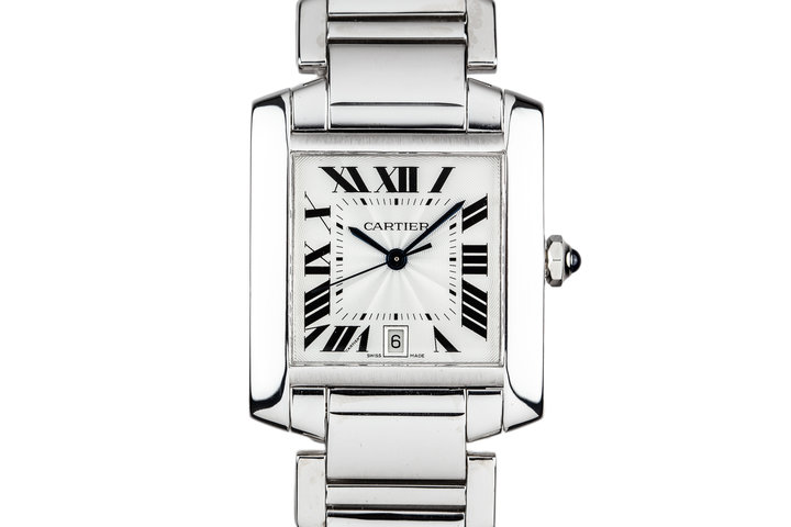 Cartier 18K White Gold Tank Francaise Date W5001153 photo