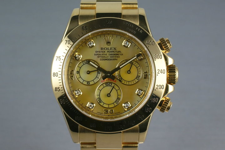 Rolex 18K Daytona 116528 Champagne MOP with Diamonds with papers photo