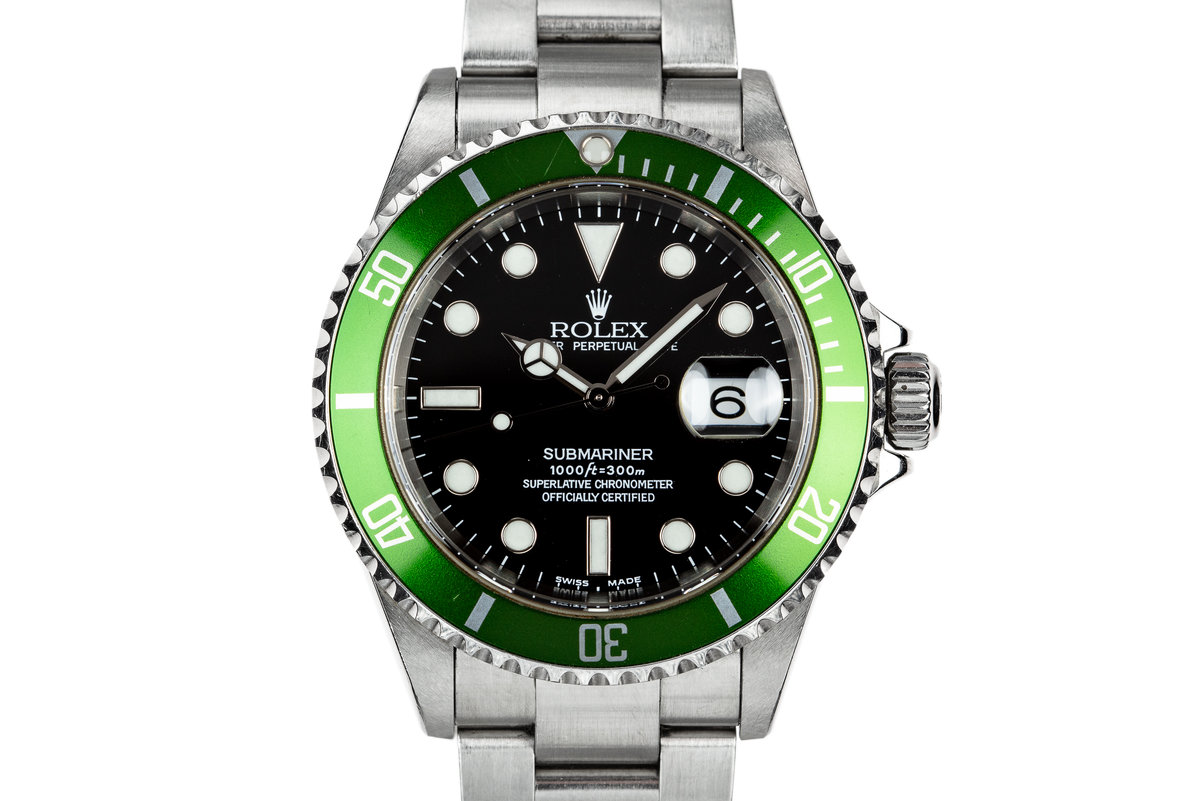 "2003 Rolex Green Anniversary Submariner 16610LV MK I Dial with Box and Papers ""Y serial"" photo, #0"