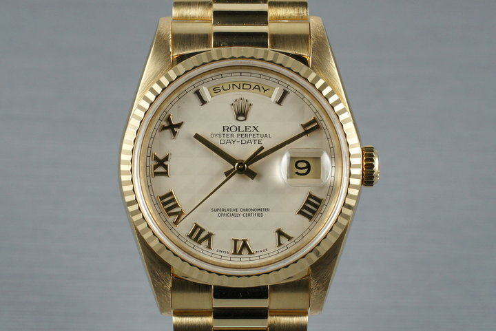 1990 Rolex Yellow Gold Day-Date Ref: 18238 with Cream Pyramid Dial photo