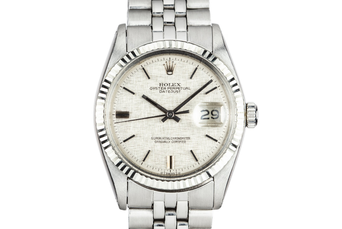 1972 Rolex DateJust 1601 with No Lume Silver Linen Sigma Dial photo, #0